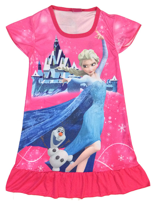 kids cotton night gown for girls 100-135cm elsa anna cartoons nightgowns for girls cotton girls dressing night gown dress S4(China (Mainland))