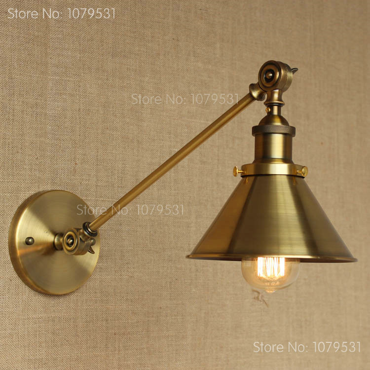 Adjustable Wall Lamp Bedroom : Retro Single Swing Arm Wall Lamp For Bedroom Bedside Adjustable Wall Mount Swing Arm Lamp Bronze ...