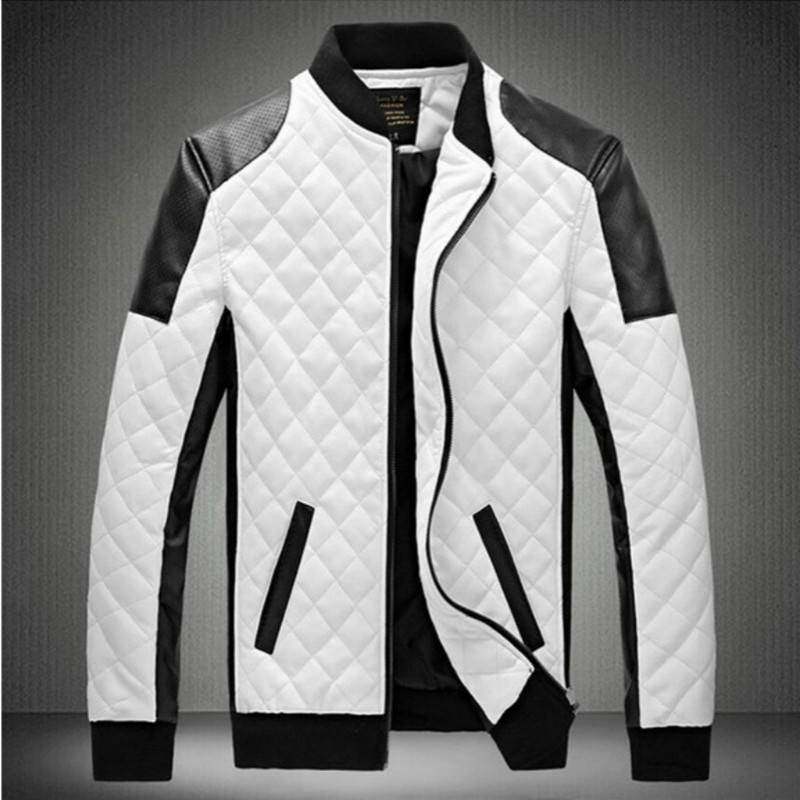 Compare Prices on Black Jacket with White Leather Sleeves Men ...