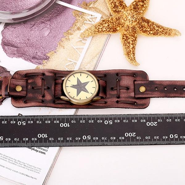 8 25 Promotion Creative Fashion Star Watch Retro Punk Rock Brown Big Wide Leather Bracelet Cuff