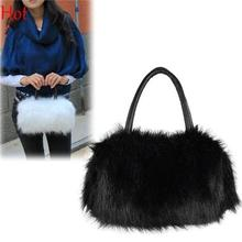 Sweet Lovely Fur Bags Mini Clutch Evening Bags Shoulder Evening Bag Winter Faux Fur Crossbody Totes Strap Bag Black White 8165