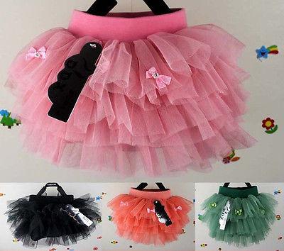 Cute Summer Kids Girls Mini Dress Multi Tulle Layer Lined Pompon Tutu Skirts Y12(China (Mainland))