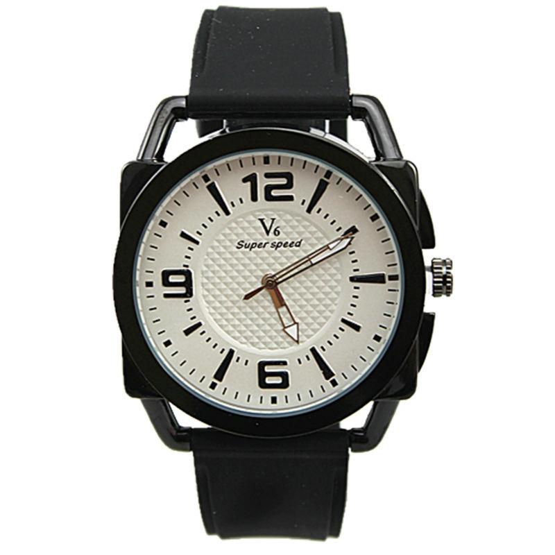 high quality classic black strap luxury japan quartz movement men sports v6 brand business silicone watch<br>