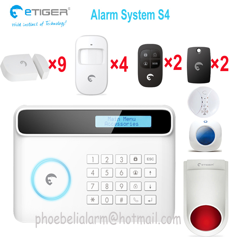 Bulk sale price etiger S4 security home gsm PSTN double network alarm system driving away theft(China (Mainland))