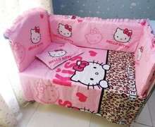 Promotion! 6PCS Hello Kitty Baby Girl Crib Bedding Set,Baby Accessories (bumper+sheet+pillow cover)