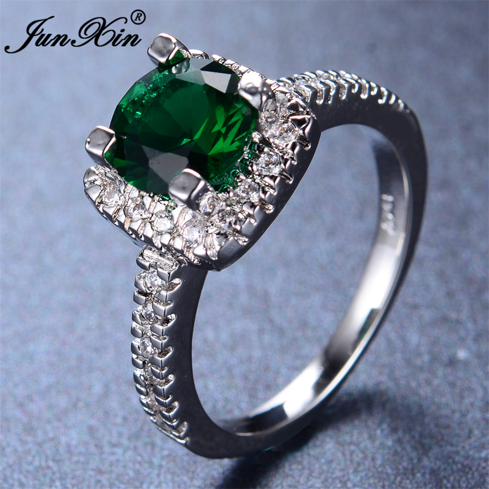 JUNXIN Male Female Emerald Green Ring 2016 New Fashion White Gold Geometric Ring Vintage Wedding Rings For Women Charm Jewelry(China (Mainland))