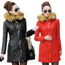 2015 Autumn Winter Leather Jacket Women Brand Hooded PU Leather Coat Women Fur collar Faux Leather Jacket Female Red Black M-3XL(China (Mainland))