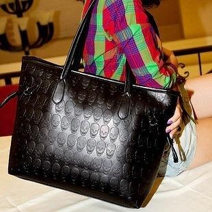 New style black casual vintage skull woman handbag big female shoulder bag messenger bag lady tote bags bolsos(China (Mainland))