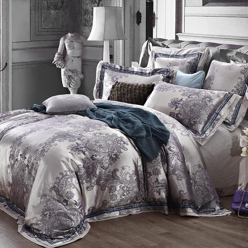 luxury jacquard king queen size bedding set quilt duvet cover bed in a bag sheets bedspread. Black Bedroom Furniture Sets. Home Design Ideas