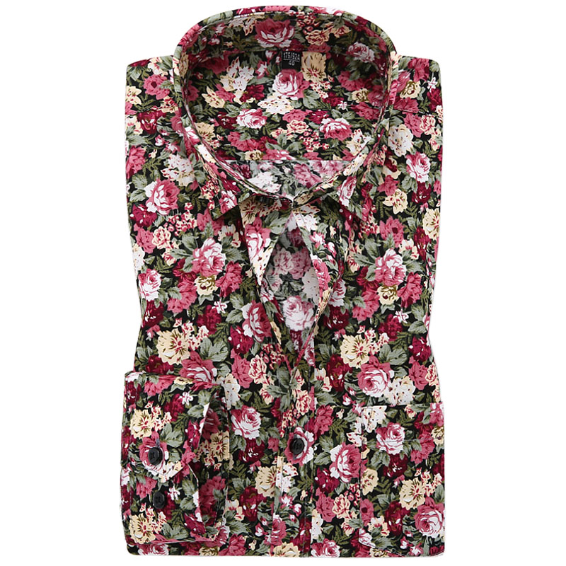 New 2016 spring mens casual floral shirts long sleeve 100 for 100 cotton mens dress shirts