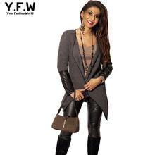 New 2016 Spring Women Cardigan Sweater Long Sleeve Leather Splicing Cardigans Coat Irregular  Knitwear Tops Shrugs poncho(China (Mainland))