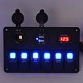 Marine Boat Switch Panel Switches Waterproof 24V 12V Car Dual USB Charger Cigarette Lighter Socket LED