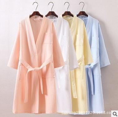 Новый 2016 отель специально женщин хлопка вафельной Большой размер хлопок халат халат ...