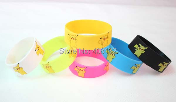 NEW! Mulit colors Pikachu Logo Design 2.4cm Wide Silicone Rubber Bracelet Wristband 100pcs FREE SHIPPING(China (Mainland))