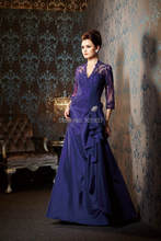 New Styles V Neck 3 / 4 Sleeves Floor Length Applique Taffeta Mother Of The Bride Dresses For Wedding(China (Mainland))