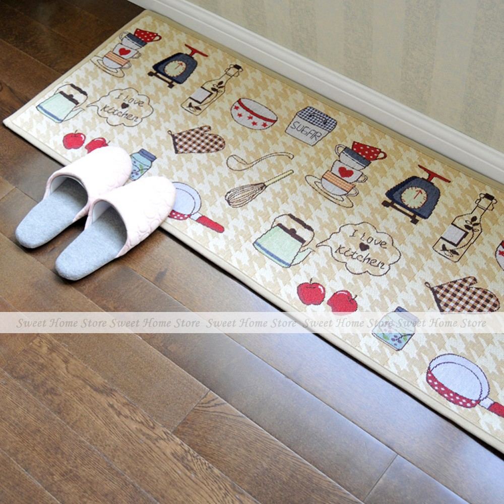 Yazi jacquard food theme non slip fabric kitchen floor mat for 100 floors valentines floor 5