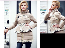 Free Shipping Bow Ruffles White Duck Down Dress Coat Women,Winter Jackets down & parkas Outerwear Down Jacket Female HD225
