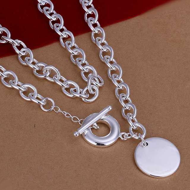 Wholesale!!Free Shipping 925 Silver Necklace,Fashion Sterling Silver Jewelry Round Tag TO Necklace SMTN246