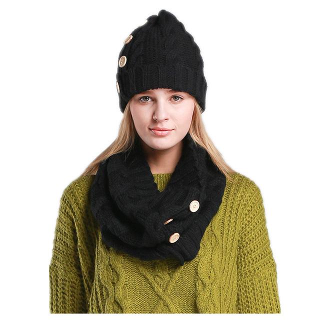 5 цветов новинка теплые зимние шапочки трикотажные удобные толстого шляпу и шарф ...
