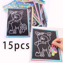 15pcs/lot Two-in-one Magic Color Scratch Art Paper Coloring Cards Scraping Drawing Toys for Children random(China (Mainland))