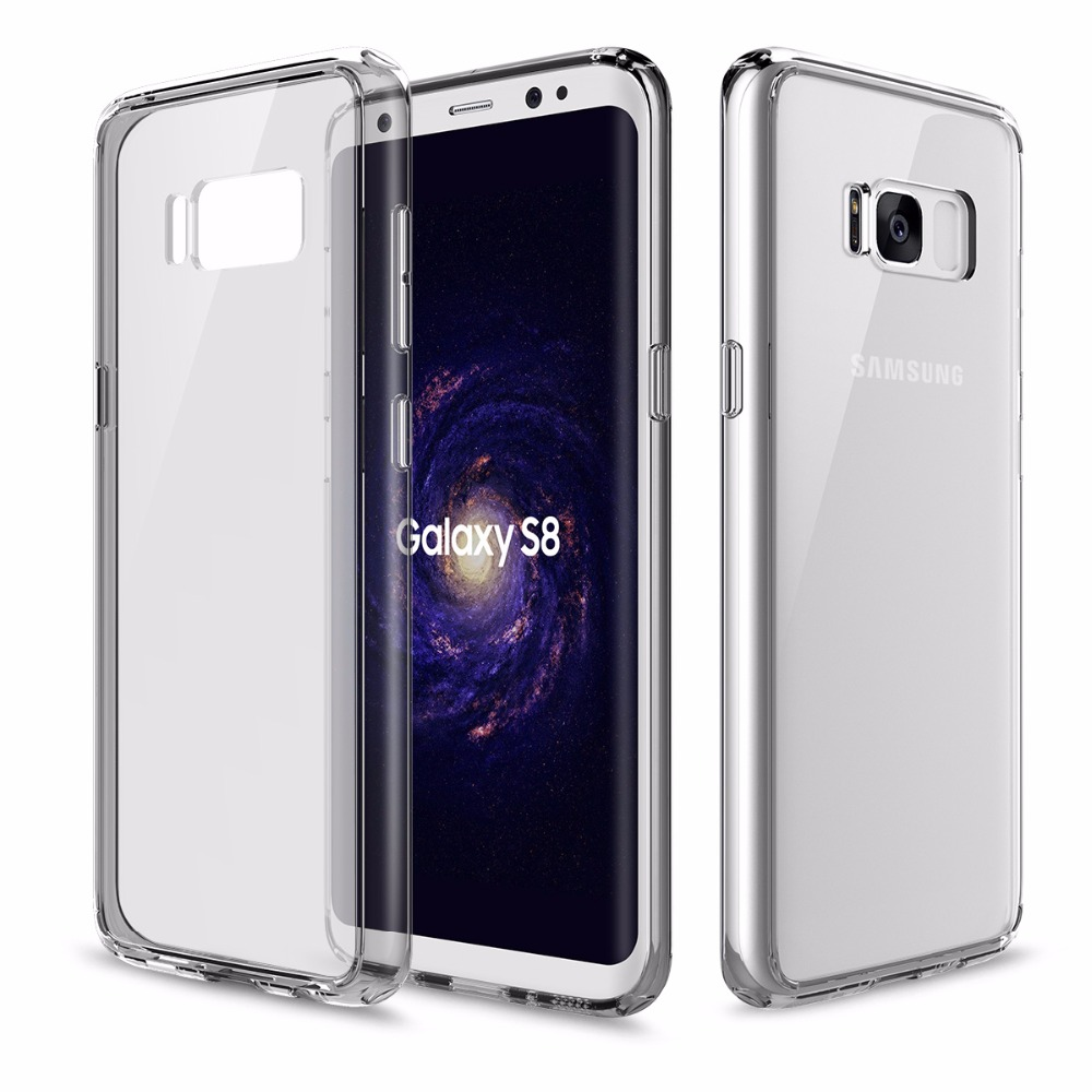 Hard Back Case for Samsung Galaxy S8 S8 plus with soft edge, ROCK Pure Series Transparent Phone case for Samsung galaxy s 8