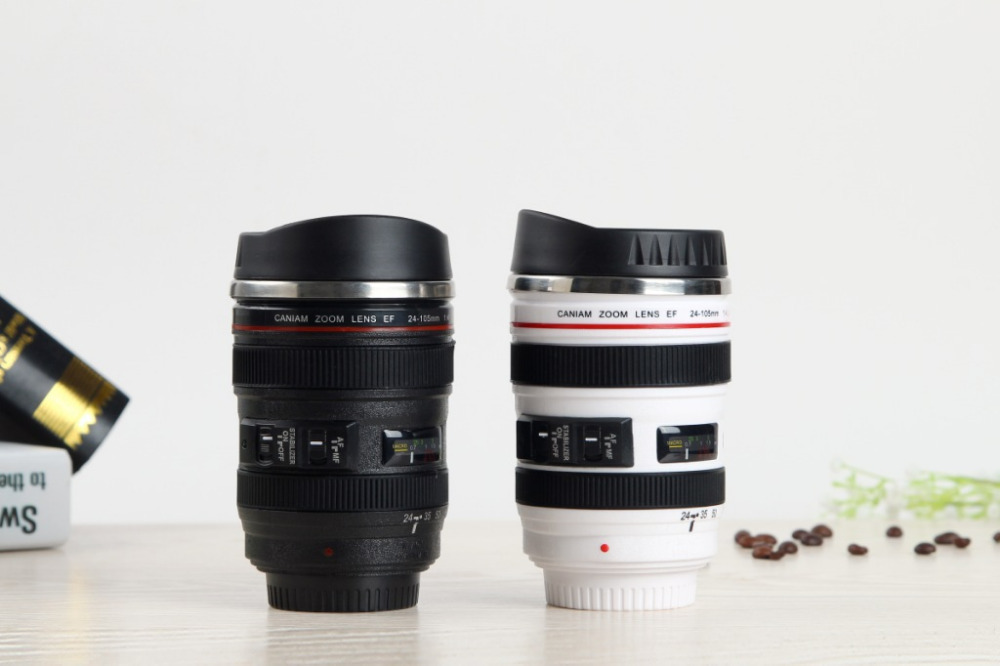 Free shipping Caniam Creative Stainless Steel Coffee Camera Lens Mug Cup the 5th Generation Valentine's Gift(China (Mainland))
