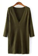 Army Green/Grey V-Neck Ribbed Pullover Sweater Dress Grey V-Neck Ribbed Pullover Sweater Dress LC27587(China (Mainland))