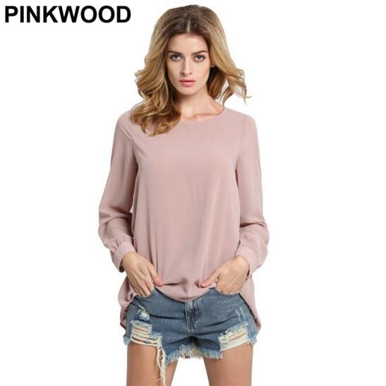 PINKWOOD Women Work Wear Shirts 2016 Summer New Brand Clothing Brief Plain Long Sleeve Round Neck Pleated Back Chiffon Blouse(China (Mainland))