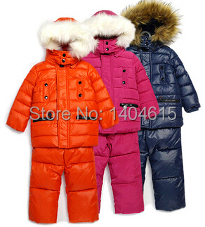 RT-074 Free Shipping Retail Boys And Girls Winter Warm Clothing Set Children 2Pcs Ski Suit Fashion Kids Windproof Sport Garment(China (Mainland))