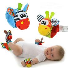 4Pcs(2Pcs Socks+2Pcs Wrists)Hot New Infant Baby Kids Sock And Wrist Rattles Cute Intellectual Developmental Toys Animal(China (Mainland))