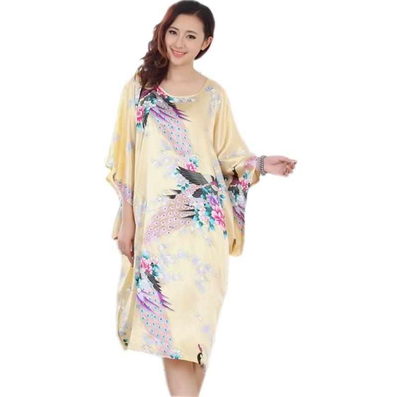 Hot Sale Plus Size Chinese Women's Faux Silk Robe Dress ...