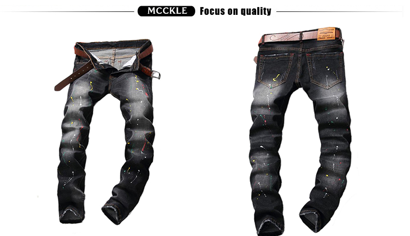 Fashion Mens Scratched Denim Joggers Slim Fit Torn Printed Jeans Trousers For Male Straight Black Painted Jeans Pants Q2549/