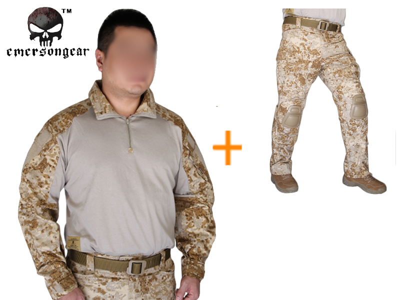 Emersongear G3 Combat uniform shirt Pants with knee pads Army Airsoft Tactical Emerson bdu Military Camouflage  Sandstorm