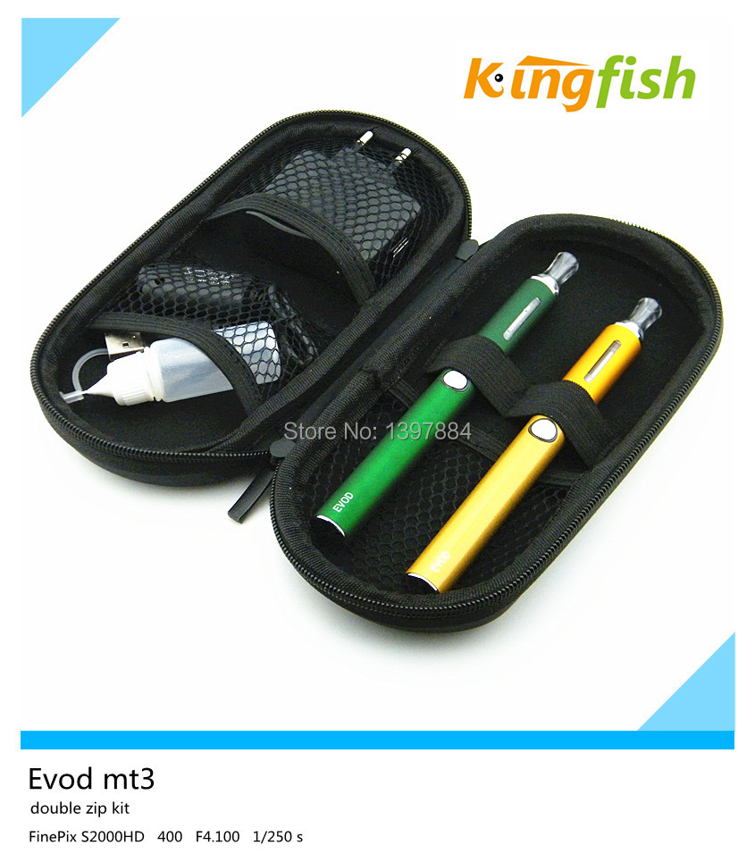 E cigs double starter kit Evod  zip case with  2 evod  batteries 2 mt3 atomizers  Electronic Cigarettes smoking<br><br>Aliexpress