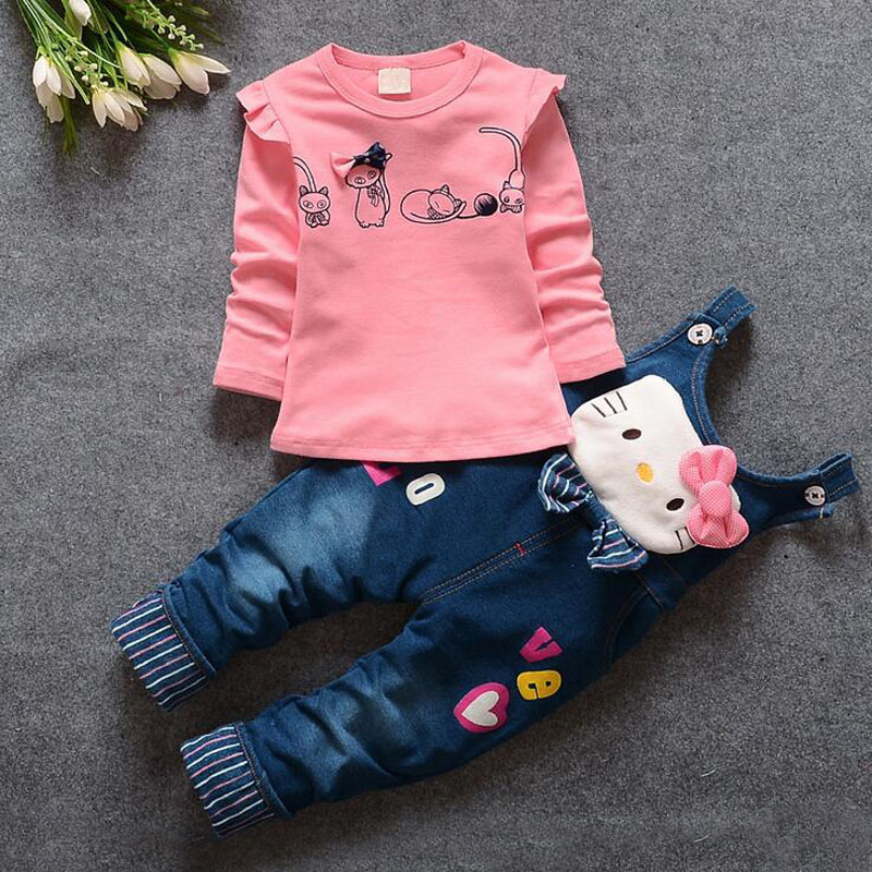 baby girls clothing sets brand autumn girls baby clothing set Cartoon t shirt+cat Bib overall kids clothing set for girl clothes(China (Mainland))