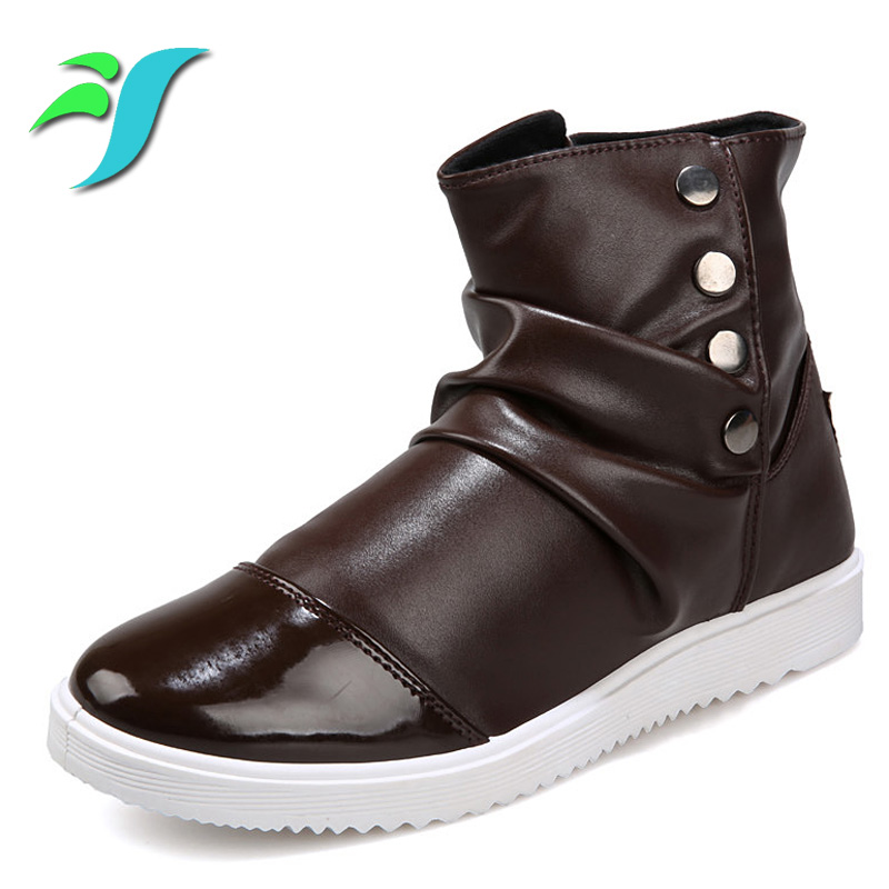 casual high top mens shoes new pu leather buckle