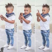 Fashion handsome boy clothes set white basic t shirt + full length jeans + scarf 3pcs clothing(China (Mainland))