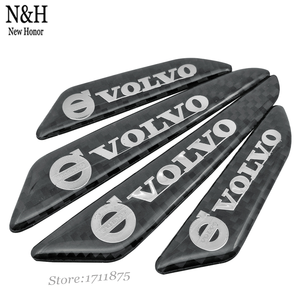 Car Sticker Car Door Protector Door Side Edge Protection Guards Stickers 3D Black Styling Real Carbon Fiber For Volvo XC60 XC70(China (Mainland))