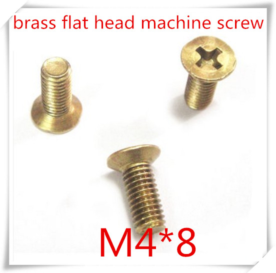 100pcs/lot High Quality M4*8 M4 Phillips Brass Falt  Haed  Machine Screw, m3 Brass cross recessed countersunk head screw<br><br>Aliexpress