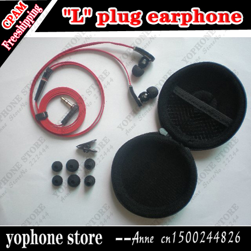 """L"" Plug Handsfree 3.5mm In-ear Earphone For MP3/MP4/ DJ Headphone with 6 Earbuds and Carry Case,Free shipping"