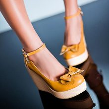 2015 new arrive fashion sexy wedges high heels women pumps PU leather ladies ankle straps wedding