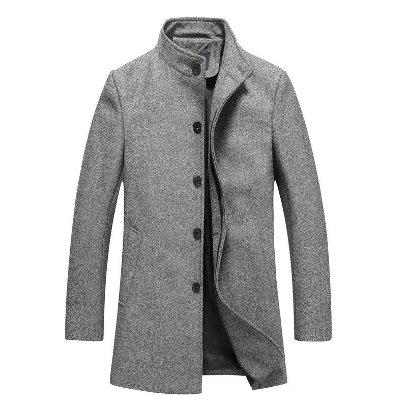 Men's Clothing Single Breasted Wool & Blends Winter Jackets Coats Men Warm Fashion Mens Woolen Long Trench Coats Brand XXL XXXL(China (Mainland))