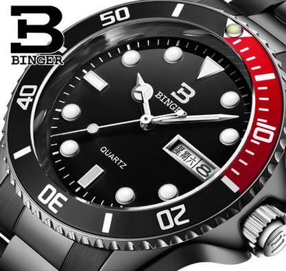 Genuine Swiss BINGER Brand Men full steel double calendar casual waterproof luminous quartz male fashion watch free shipping(China (Mainland))