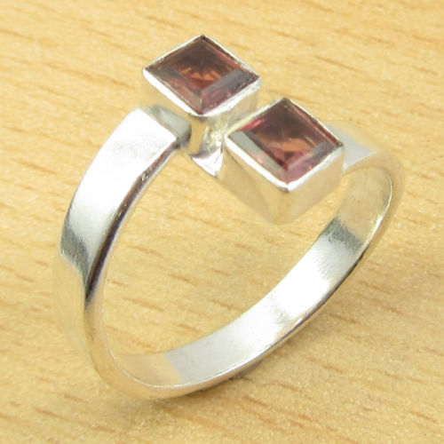 Real GARNET 2 Gemset, Silver Plated GIRLS' Ring Size US 6 1/2 ONLINE STORE(China (Mainland))