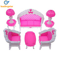 6Pcs Pack Dollhouse Furniture Living Room Parlour Sofa Chair Set Plastic for Barbie Acessorios House Furniture