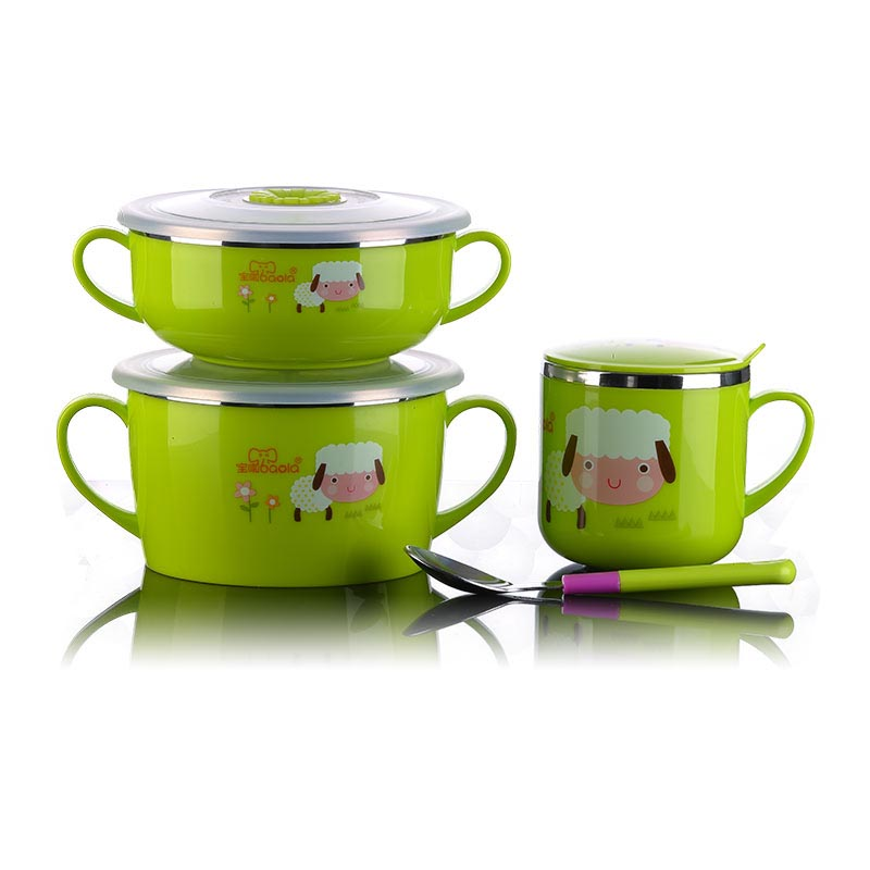High Quality 4 Piece Children Stainless steel Dinnerware Set Kid's Bowls with Lids, Cup & Spoon Zoo Design(China (Mainland))