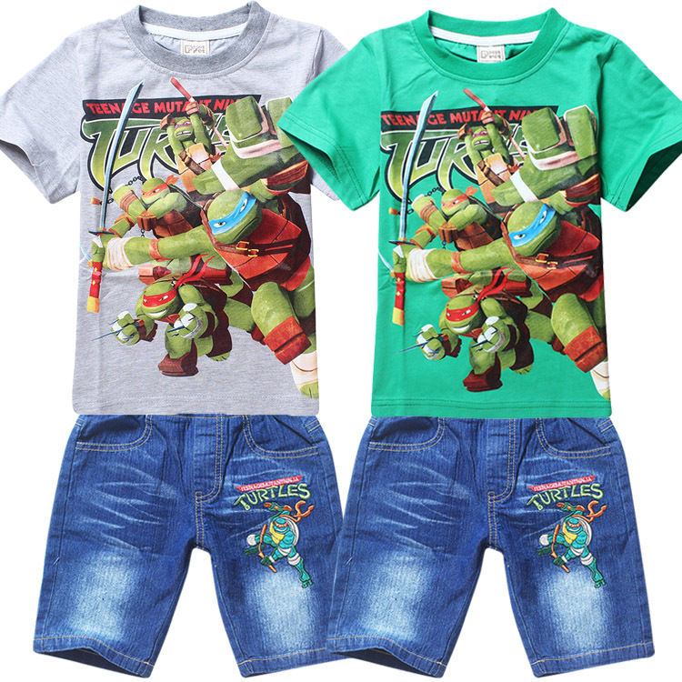 Mutant Ninjago Ninja Turtles Summer Clothing Set 2 pieces t shirt+jeans material cotton two designs - Sunny baby's store