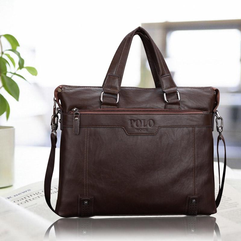 New Famous Brand POLO 2015 Casual Men Messenger Bags Genuine Leather Bag Business Shoulder Bag Handbag Fashion Men's Travel Bags(China (Mainland))