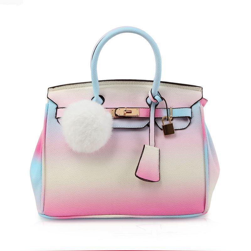 New Tote bolsa feminina PU Leather Lock Panelled Women Top-handle Message bags Handbags carteira feminina Purse for Summer Lady