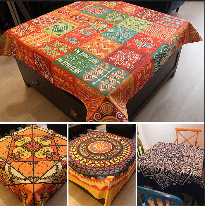 Thicken linen cotton fabric table cloth bohemia style church printing table cover party accessory home decoration outside fabric(China (Mainland))